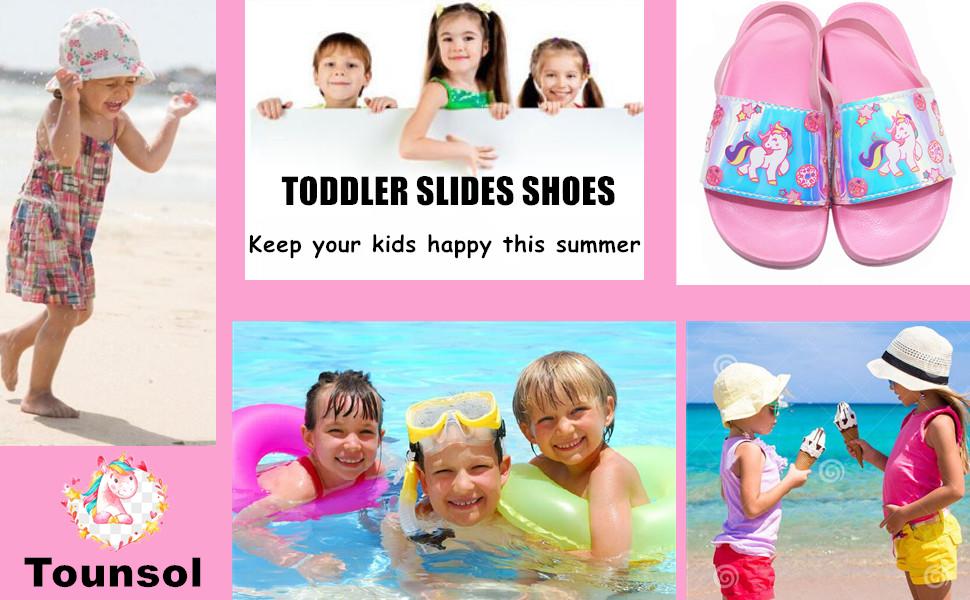 Toddler//Little Kid Tounsol Girls Slide Sandals Kids Summer Beach Pool Bath Slippers Soft Fruit Water Shoes