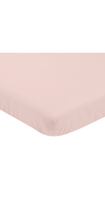 Solid Blush Pink Baby Fitted Mini Portable Crib Sheet for Watercolor Floral Collection