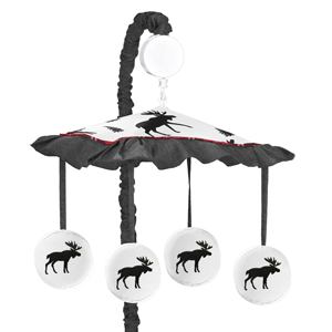 Grey, Black and Red Woodland Plaid and Moose Musical Baby Crib Mobile for Rustic Patch Collection