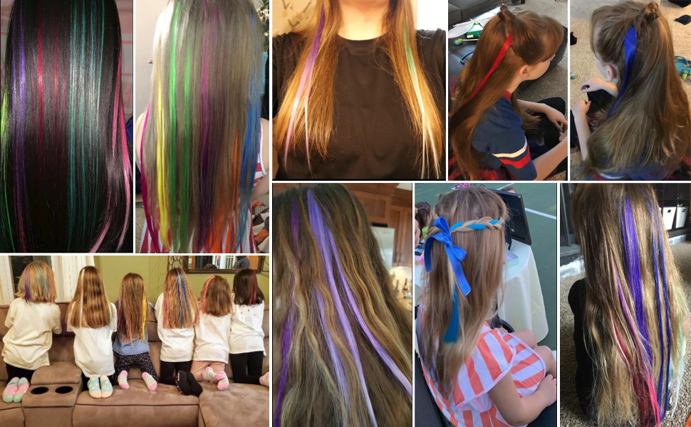 rainbow colored hair extensions