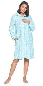 Floral Print Long sleeve nightgown sleep shirt dress zipper front duster house dress sleepwear