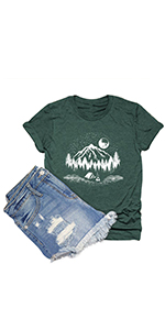 Sunrise Sunset Organic Camping T Shirt Women Nature Travel Short Sleeve Tee Tops