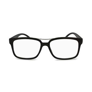 wood grain eyeglasses with metal top bar in dark brown