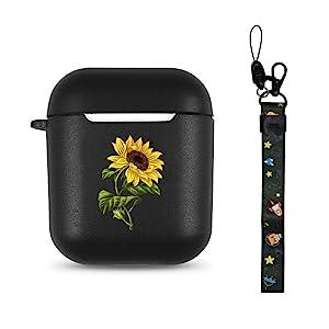 Black Sunflower Airpods Case