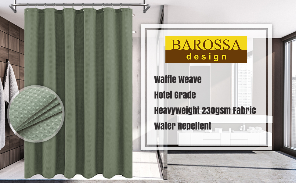 sage green waffle weave shower curtain for bathroom