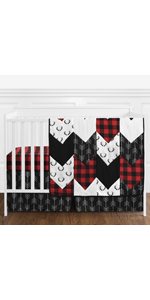 Woodland Buffalo Plaid Baby Boy Nursery Crib Bedding Set without Bumper - 4 pieces - Red and Black