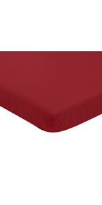 Solid Red Baby Boy Fitted Mini Portable Crib Sheet for Baseball Patch Sports Collection