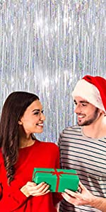 Sliver foil fring curtain for Christmas xmas party Happy New Year