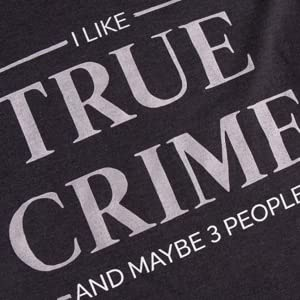 i like true crime and maybe three people women's triblend black v-neck t-shirt