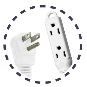 white 16/3 extension cord with 3-plug outlet
