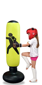 "GEMGO 63"" Inflatable Punching Bags For Immediate Bounce Practicing Karate, Taekwondo(Yellow-C)"