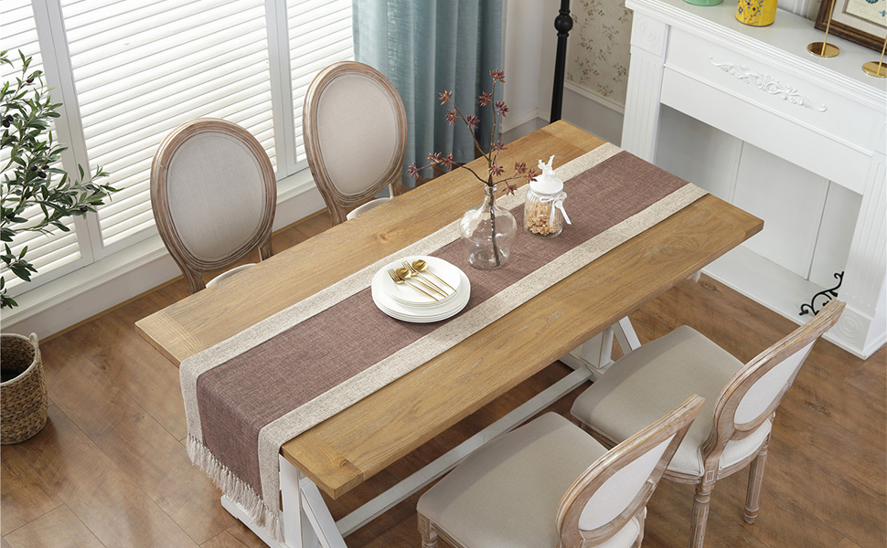 Cotton Table Runner Brown with Fringe for Dining Table