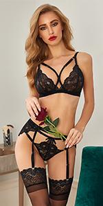strappy garter lingerie set