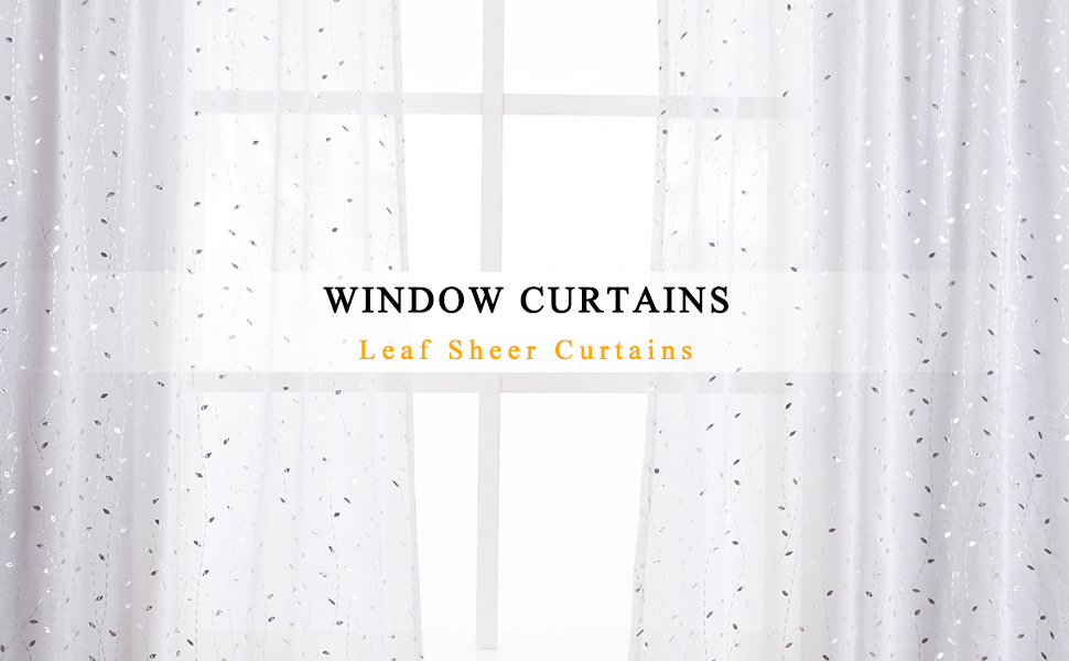 white sheer curtains with silver leaf pattern