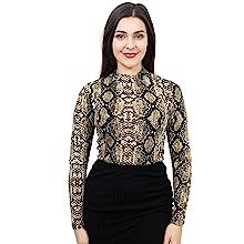 womens mock neck high crew long sleeve leopard animal print