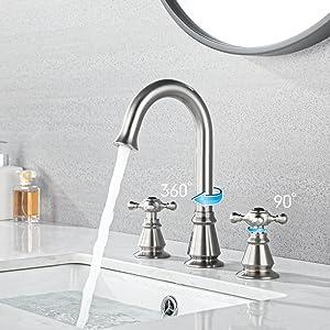 Anpean Two Handle 8 Inch Widespread Bathroom Faucet 3 Holes, Nickel