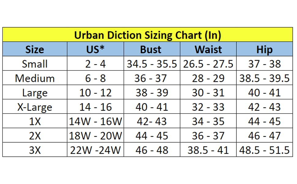 Urban Diction general sizing chart jackets lined zipper