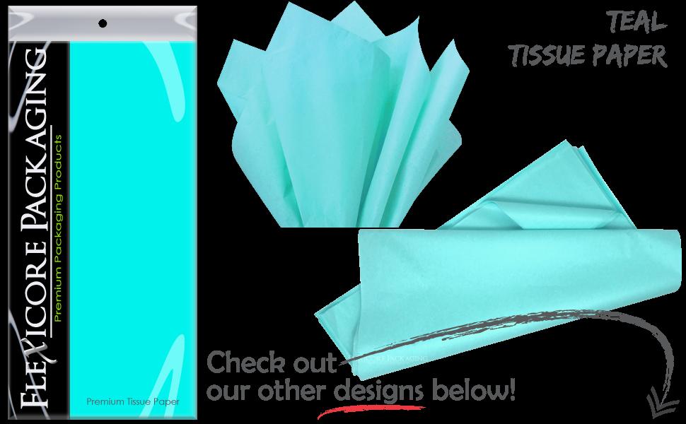 teal aqua bright solid gift wrap paper tissue sheets art diy craft tassel garland pom pom