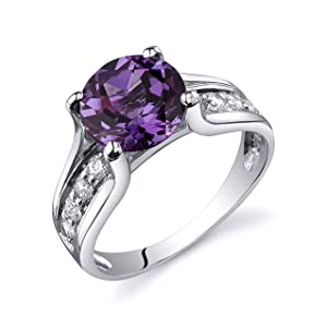 Peora Simulated Alexandrite Cathedral Ring in Sterling Silver, Round Shape, 8mm, 2.75 Carat total