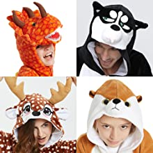 animal onesie costume pajamas deer dog dino t-rex for adult kids women men black white color