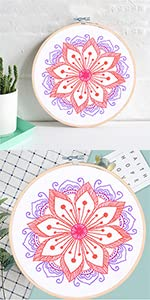 WODISON full range of Embroidery Starter Kits with Flowers Pattern
