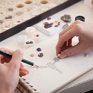 jewelry design sketch drawing gemstone stones rendering jewels making designer artist gemstones gem
