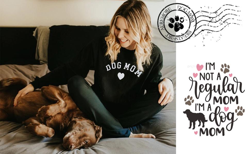Womens Tops Cat Dog Mom Shirts Long Sleeve Crewneck Graphic Tees
