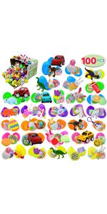 100 PCs Toys Plus Stickers Prefilled Easter Eggs