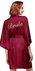 Personalized Embroidered Satin Robe Women Kimono Short Silky Wedding Party Mrs Bride Bridesmaid Gift