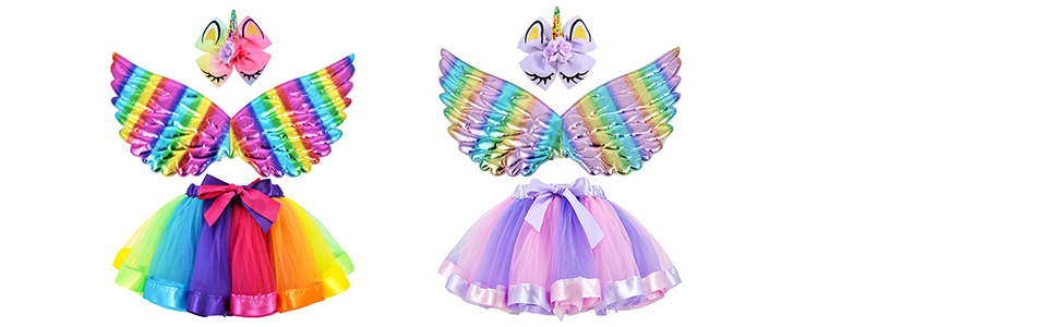 girl tutu unicorn costume wing bow gift party birthday rainbow-
