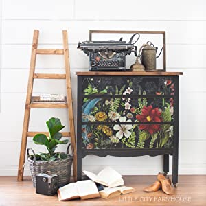 black floral dresser furniture paint chalk clay diy home decor upcycle craft