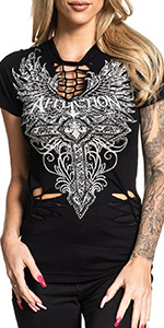 Affliction Womens Lorielle Baby Tee