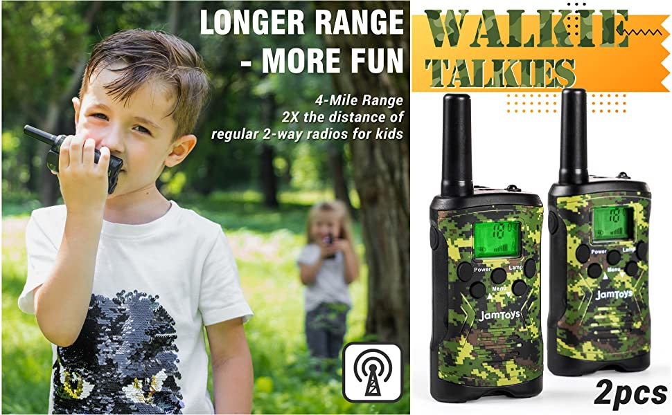 Camo Walkie Talkies for Kids - Long-Range 22 Channel Two-Way Radio Toys for Boys and Girls