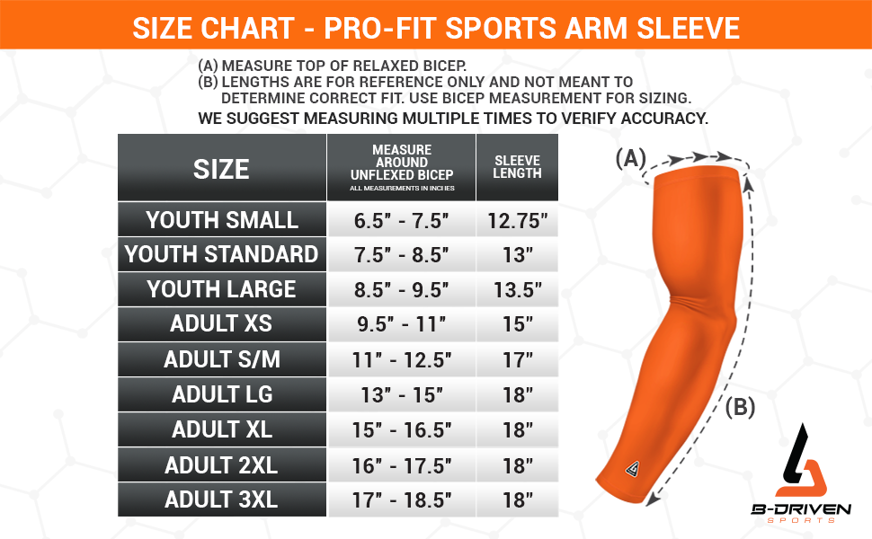 Sizing Chart for Pro-Fit Sports Sleeve