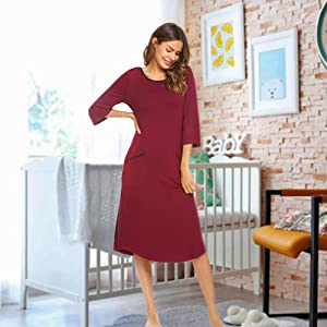 Women's Nightgown,Long Loungewear Nightshirt Sleepwear with Pocket