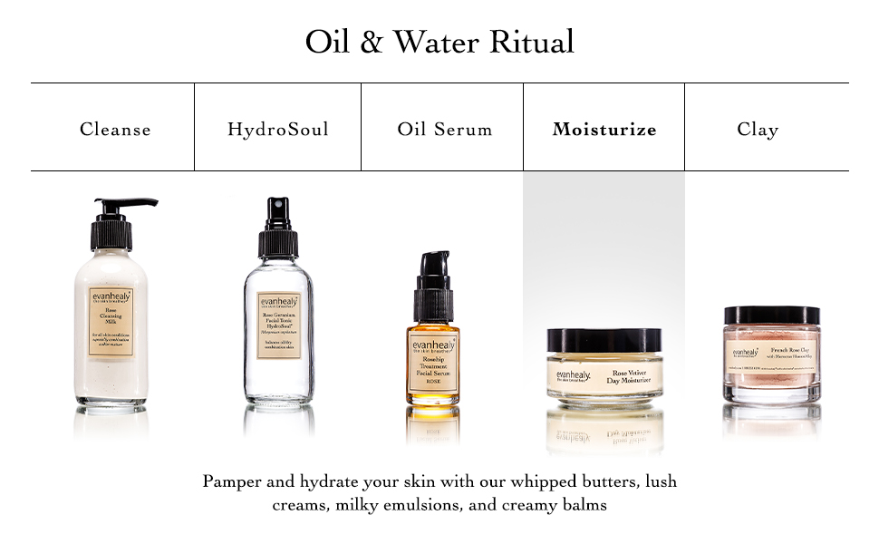 Oil and Water Ritual, Cleanse, HydroSoul, Oil Serum, Moisturize, Clay Masks