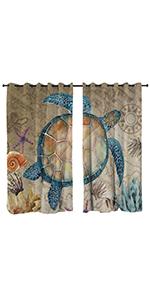 Sleepwish Vintage Sea Turtle Window Treatment Curtain
