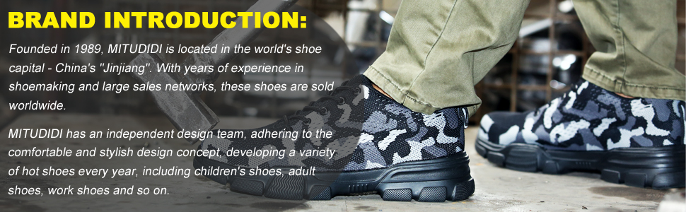 Mitudidi Steel Toe Safety Work Shoes Mens Women Lightweight Mesh Sports Sneakers Construction Shoes