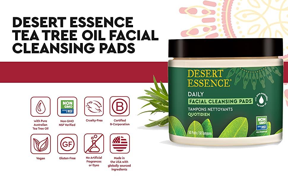 Desert Essence Tea Tree Oil Facial Cleansing Pads