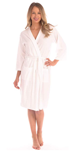 womens ladies robe waffle knit cozy towel dry spa bath shower cute elegant white pink blue hood red