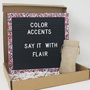 Red Whit and Blue Felt Letter Board in Box