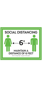 Social Distancing Wall Sign - White/Green