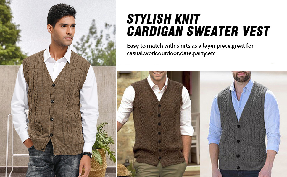 casual and stylish knit cardigan button down cable sweater vest for men v-neck sleeveless knit vest