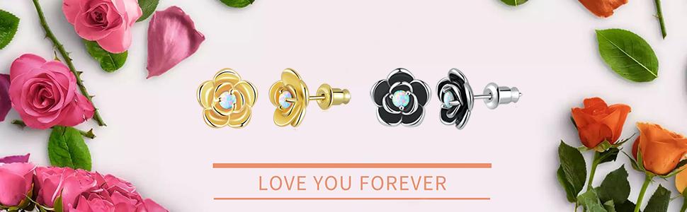 flower opal earrings for women girls