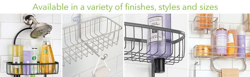 Shower caddies are available in a variety of finished styles and sizes