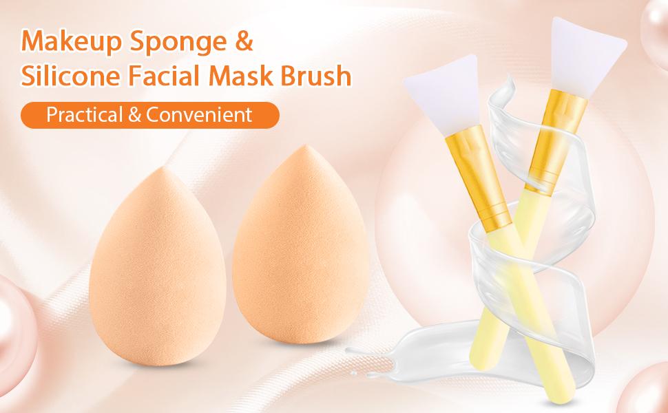 makeup sponge and mask brush