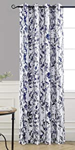 Leah Abstract window curtain 52 Inch by 84 Inch Blue gray