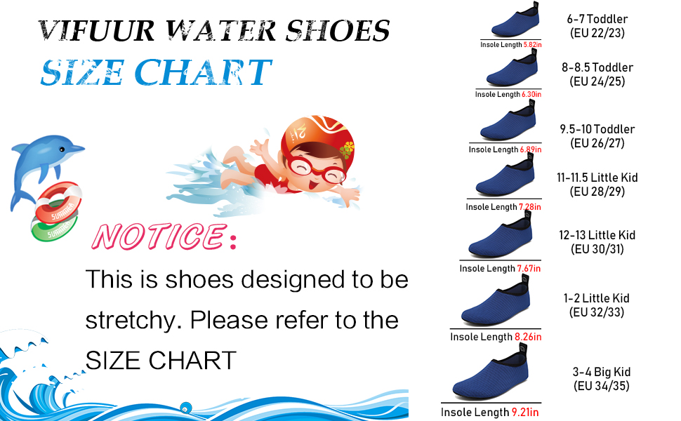 water shoes size