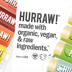 HURRAW Organic Vegan Cruelty Free Non GMO Gluten Free All Natural Luxury Vata Rose Lip Balm