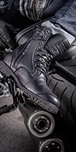 Thomson; leather boots; motorcycle boots; over ankle; gloss finish;